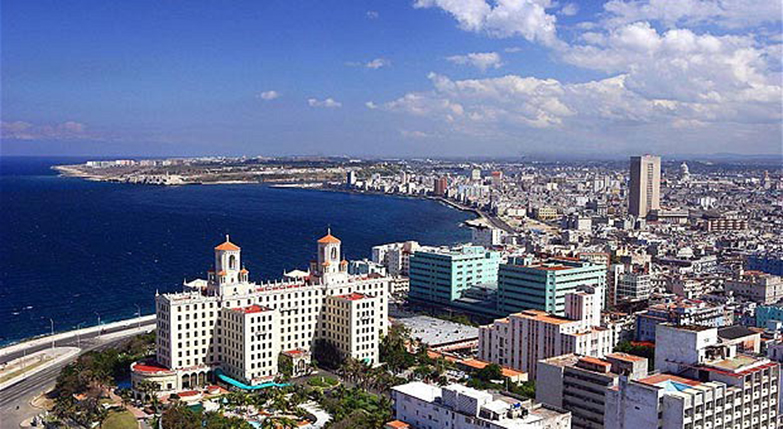 Cuba Havana overview town city coast sea...BX42P3 Cuba Havana overview town city coast sea
