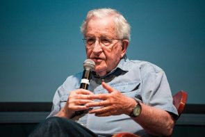 Noam Chomsky speaks to the Martha's Vineyard Film Festival audience at the Tabernacle in Oak Bluffs.