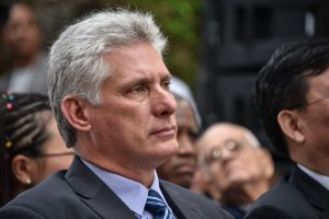 Cuban first Vice-President Miguel Diaz-Canel (R) attends the opening of the XXVII Havana International Book Fair in Havana, on February 1, 2018. The book fair is dedicated to China. / AFP PHOTO / ADALBERTO ROQUE (Photo credit should read ADALBERTO ROQUE/AFP/Getty Images)
